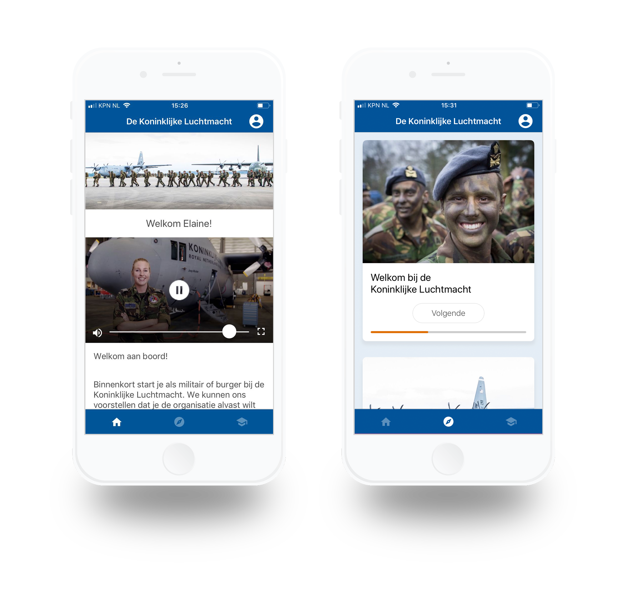 mobile onboarding app luchtmacht iphone